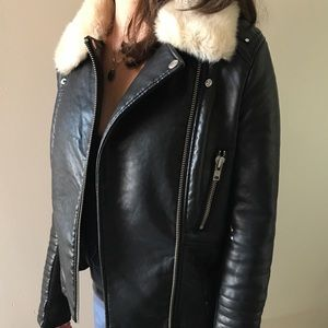 ASOS leather jacket with removable fur collar